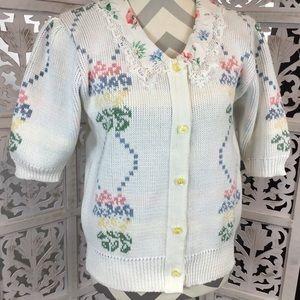 Vtg Sweater Loft Short Sleeve Floral Cardigan Med
